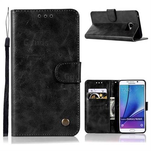 Luxury Retro Leather Wallet Case for Samsung Galaxy Note 5 - Black
