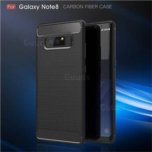 Luxury Carbon Fiber Brushed Wire Drawing Silicone TPU Back Cover for Samsung Galaxy Note 8 (Black)
