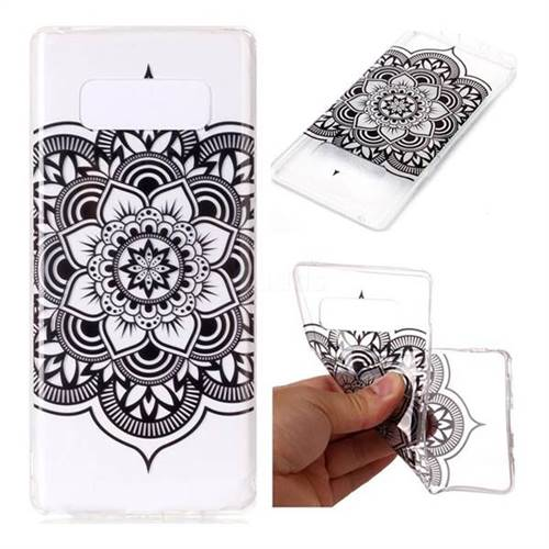 Black Mandala Flower Super Clear Soft TPU Back Cover for Samsung Galaxy Note 8