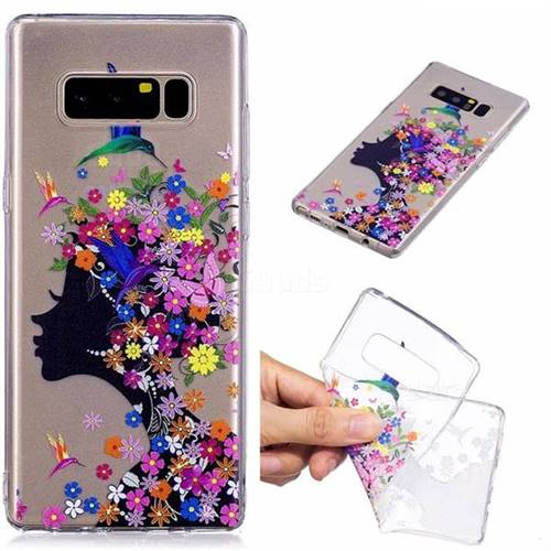 new concept df6e6 b507c Floral Bird Girl Super Clear Soft TPU Back Cover for Samsung Galaxy Note 8
