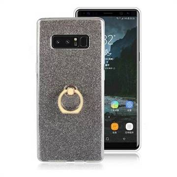 Luxury Soft TPU Glitter Back Ring Cover with 360 Rotate Finger Holder Buckle for Samsung Galaxy Note 8 - Black