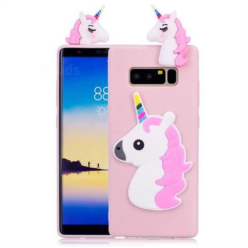 Unicorn Soft 3D Silicone Case for Samsung Galaxy Note 8 - Pink