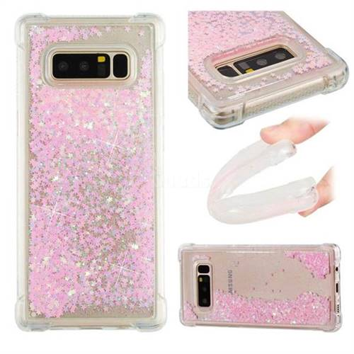 Dynamic Liquid Glitter Sand Quicksand TPU Case for Samsung Galaxy Note 8 - Silver Powder Star