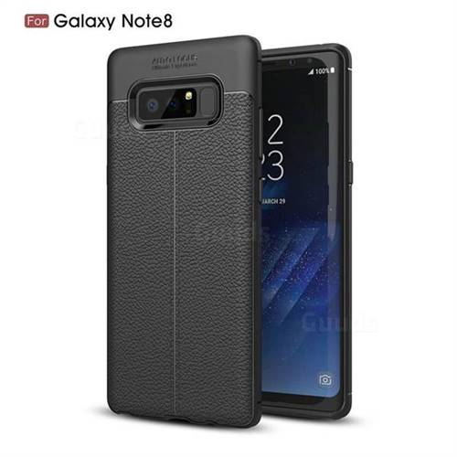 Luxury Auto Focus Litchi Texture Silicone TPU Back Cover for Samsung Galaxy Note 8 - Black