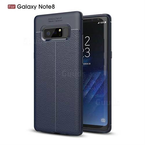 Luxury Auto Focus Litchi Texture Silicone TPU Back Cover for Samsung Galaxy Note 8 - Dark Blue