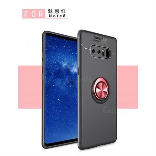 Auto Focus Invisible Ring Holder Soft Phone Case for Samsung Galaxy Note 8 - Black Red