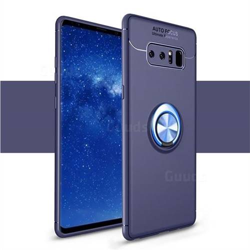 Auto Focus Invisible Ring Holder Soft Phone Case for Samsung Galaxy Note 8 - Blue