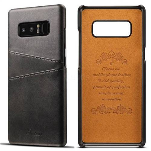 Suteni Retro Classic Card Slots Calf Leather Coated Back Cover for Samsung Galaxy Note 8 - Black