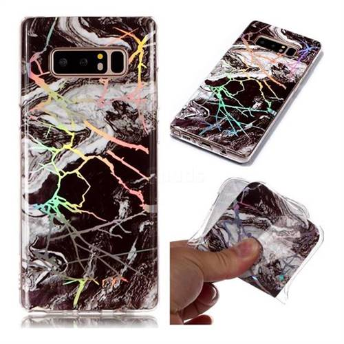 White Black Marble Pattern Bright Color Laser Soft TPU Case for Samsung Galaxy Note 8