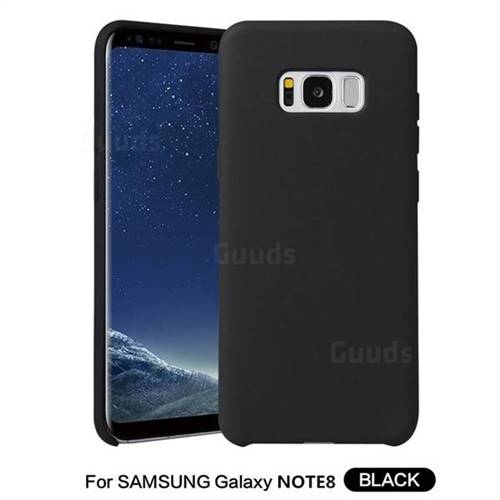 Howmak Slim Liquid Silicone Rubber Shockproof Phone Case Cover for Samsung Galaxy Note 8 - Black