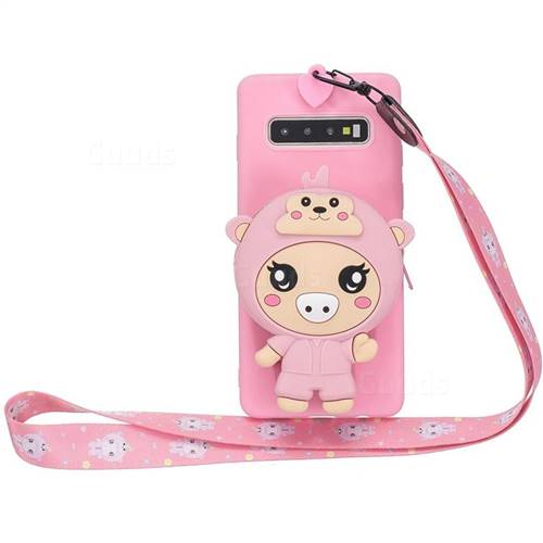 Pink Pig Neck Lanyard Zipper Wallet Silicone Case for Samsung Galaxy Note 8