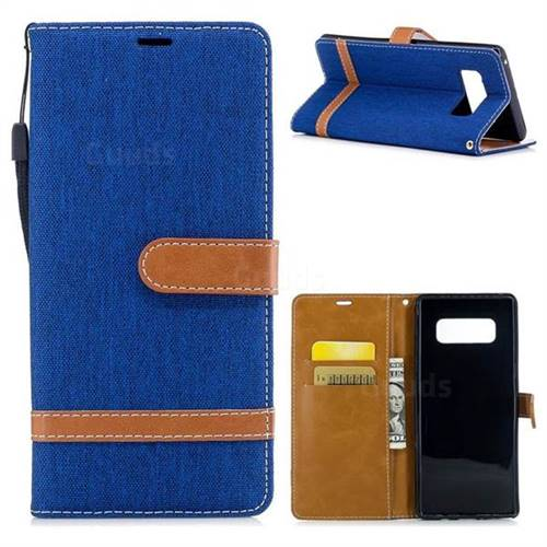 Jeans Cowboy Denim Leather Wallet Case for Samsung Galaxy Note 8 - Sapphire