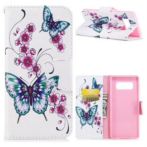 Peach Butterfly Leather Wallet Case for Samsung Galaxy Note 8