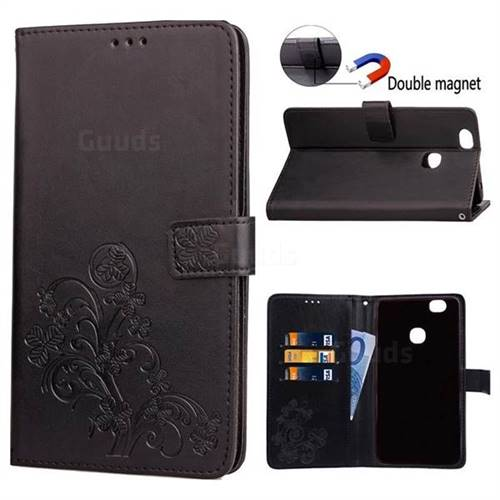Embossing Imprint Four-Leaf Clover Leather Wallet Case for Samsung Galaxy Note 8 - Black