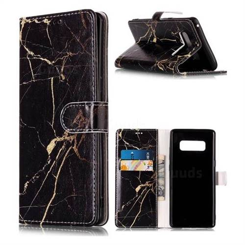 Black Gold Marble PU Leather Wallet Case for Samsung Galaxy Note 8