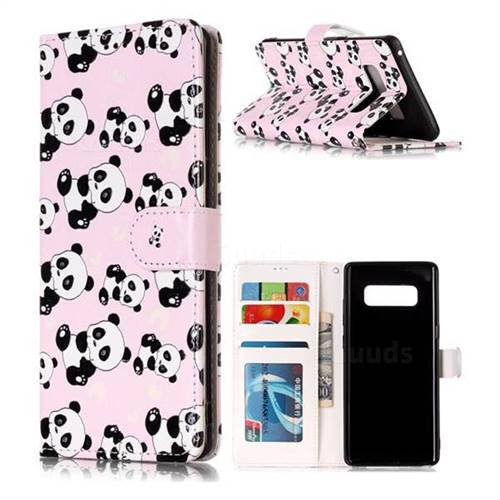 Cute Panda 3D Relief Oil PU Leather Wallet Case for Samsung Galaxy Note 8