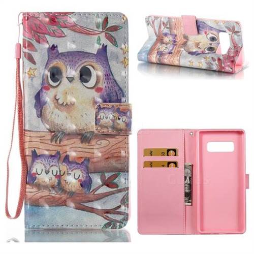 Purple Owl 3D Painted Leather Wallet Case for Samsung Galaxy Note 8