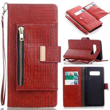 Retro Crocodile Zippers Leather Wallet Case for Samsung Galaxy Note 8 - Purplish Red