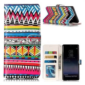 Tribal Pattern 3D Relief Oil PU Leather Wallet Case for Samsung Galaxy Note 8
