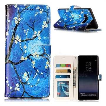 Plum Blossom 3D Relief Oil PU Leather Wallet Case for Samsung Galaxy Note 8