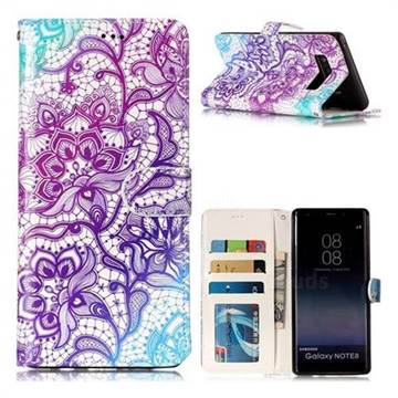 Purple Lotus 3D Relief Oil PU Leather Wallet Case for Samsung Galaxy Note 8