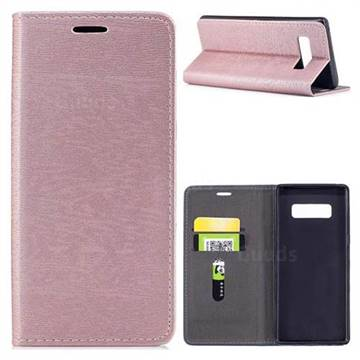 Tree Bark Pattern Automatic suction Leather Wallet Case for Samsung Galaxy Note 8 - Rose Gold