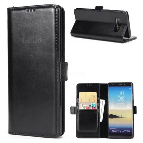 Luxury Crazy Horse PU Leather Wallet Case for Samsung Galaxy Note 8 - Black