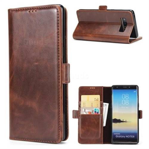 Luxury Crazy Horse PU Leather Wallet Case for Samsung Galaxy Note 8 - Coffee