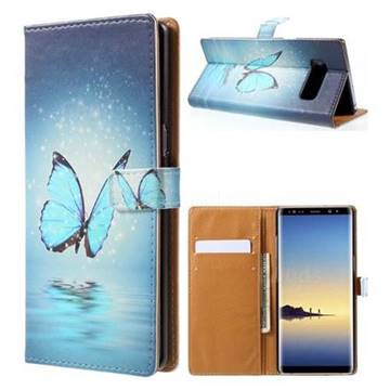 Sea Blue Butterfly Leather Wallet Case for Samsung Galaxy Note 8