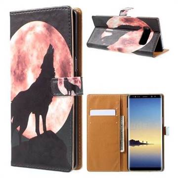 Moon Wolf Leather Wallet Case for Samsung Galaxy Note 8