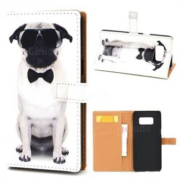 Glasses Dog Leather Wallet Case for Samsung Galaxy Note 8