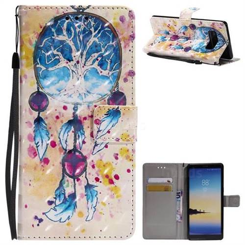 Blue Dream Catcher 3D Painted Leather Wallet Case for Samsung Galaxy Note 8