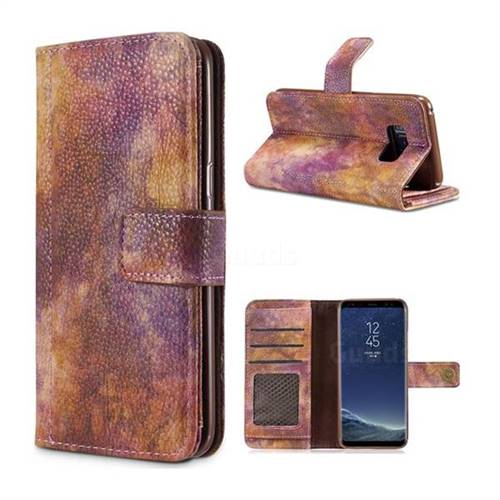 Luxury Retro Forest Series Leather Wallet Case for Samsung Galaxy Note 8 - Purple