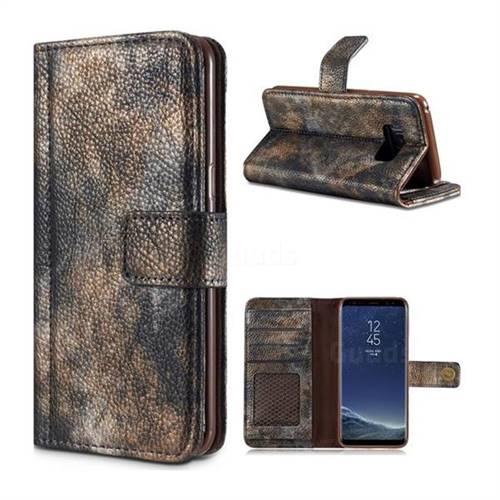 Luxury Retro Forest Series Leather Wallet Case for Samsung Galaxy Note 8 - Grey