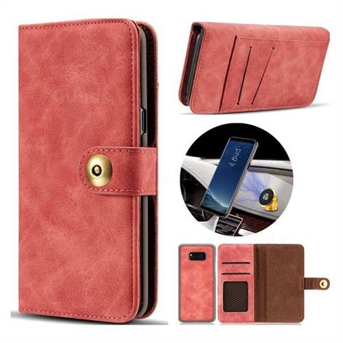 Luxury Vintage Split Separated Leather Wallet Case for Samsung Galaxy Note 8 - Carmine