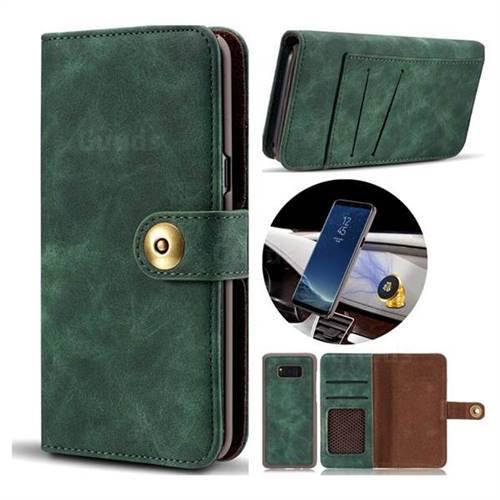 Luxury Vintage Split Separated Leather Wallet Case for Samsung Galaxy Note 8 - Dark Green
