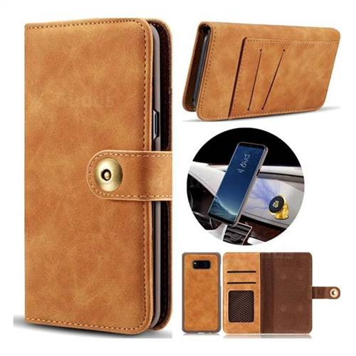 Luxury Vintage Split Separated Leather Wallet Case for Samsung Galaxy Note 8 - Khaki