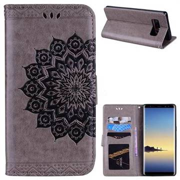 Datura Flowers Flash Powder Leather Wallet Holster Case for Samsung Galaxy Note 8 - Gray