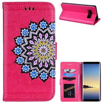 Datura Flowers Flash Powder Leather Wallet Holster Case for Samsung Galaxy Note 8 - Rose
