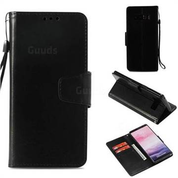 Retro Phantom Smooth PU Leather Wallet Holster Case for Samsung Galaxy Note 8 - Black