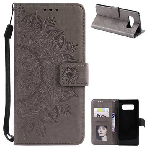 Intricate Embossing Datura Leather Wallet Case for Samsung Galaxy Note 8 - Gray