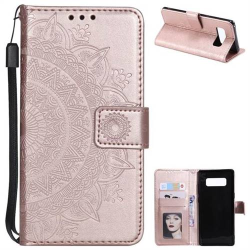 Intricate Embossing Datura Leather Wallet Case for Samsung Galaxy Note 8 - Rose Gold