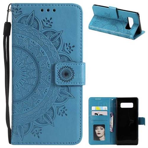 Intricate Embossing Datura Leather Wallet Case for Samsung Galaxy Note 8 - Blue