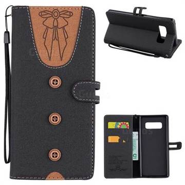 Ladies Bow Clothes Pattern Leather Wallet Phone Case for Samsung Galaxy Note 8 - Black