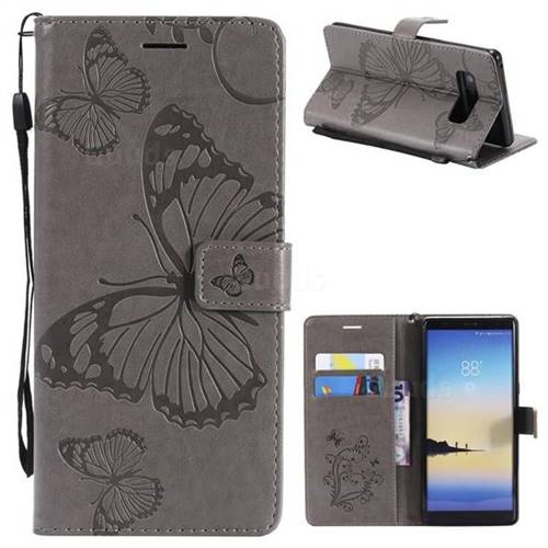 Embossing 3D Butterfly Leather Wallet Case for Samsung Galaxy Note 8 - Gray