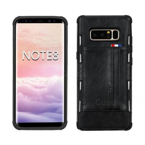 Luxury Shatter-resistant Leather Coated Card Phone Case for Samsung Galaxy Note 8 - Black