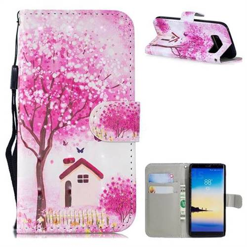 Tree House 3D Painted Leather Wallet Phone Case for Samsung Galaxy Note 8