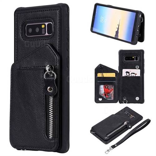 Classic Luxury Buckle Zipper Anti-fall Leather Phone Back Cover for Samsung Galaxy Note 8 - Black