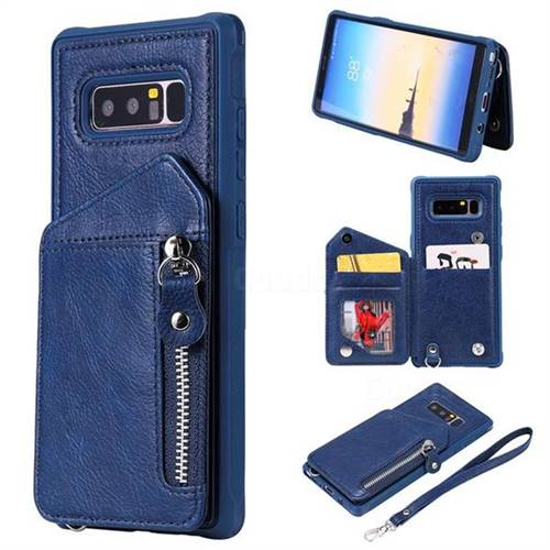 Classic Luxury Buckle Zipper Anti-fall Leather Phone Back Cover for Samsung Galaxy Note 8 - Blue