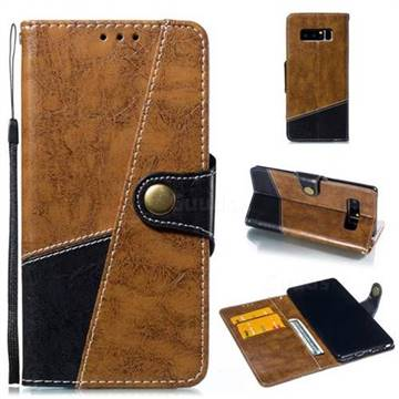 Retro Magnetic Stitching Wallet Flip Cover for Samsung Galaxy Note 8 - Brown